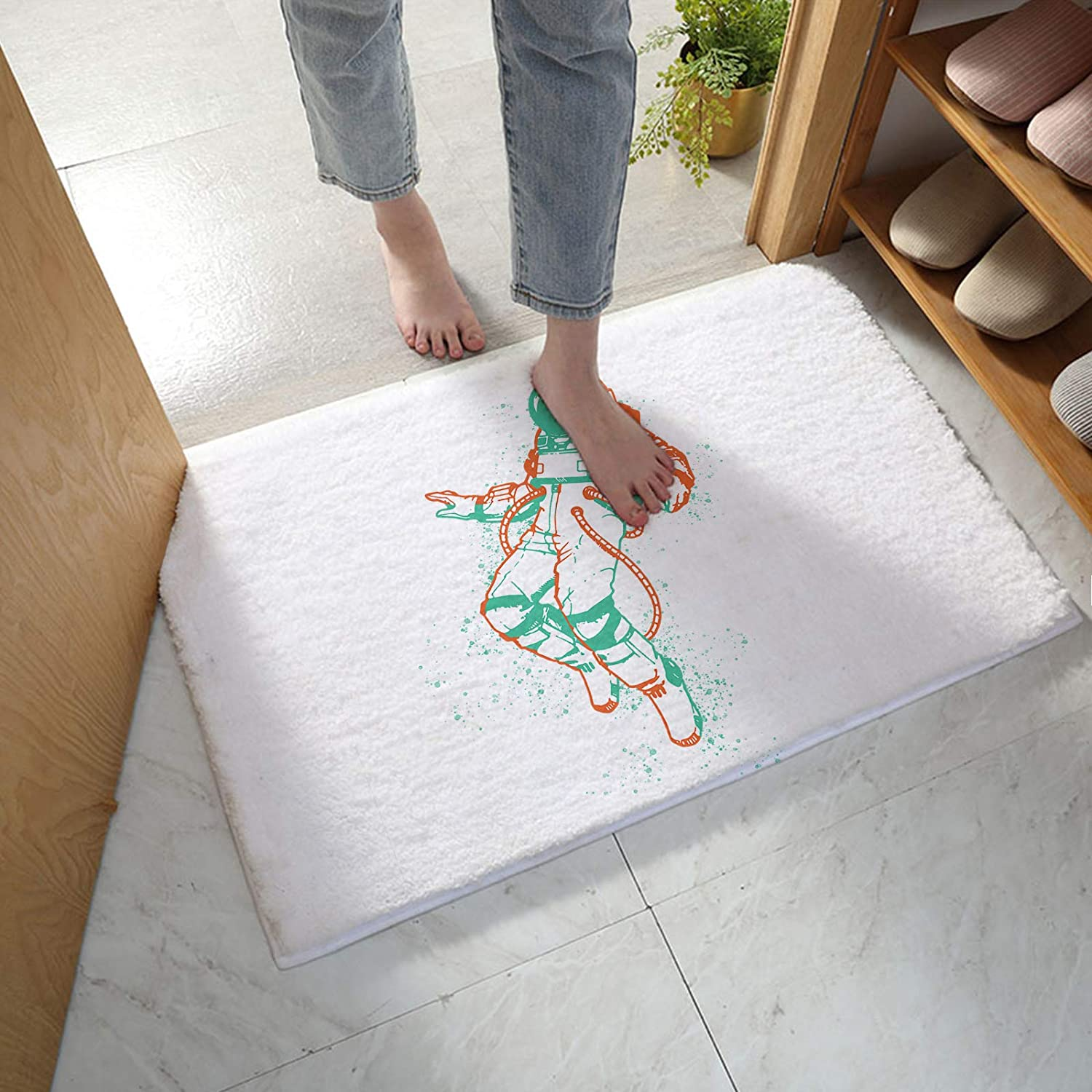 MuswannaA Long-awaited Bathroom Large special price !! Rug Bath Mat Simple Astronaut Line with Ink E