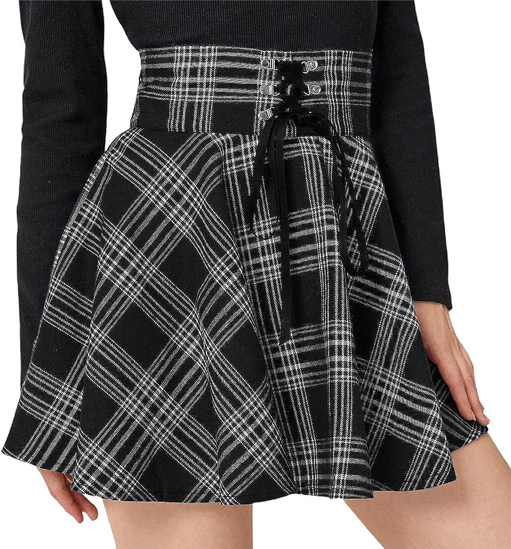 chouyatou Women's Spring Fall Wear Lace-Up High Waisted Plaid Mini Skater Skirt