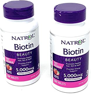 Natrol Biotin 5000 mcg Fast Dissolve Tablets (Strawberry (2 Pack))