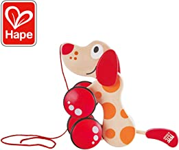 Hape Walk-A-Long  Wooden Pull Toy Puppy Red/Orange