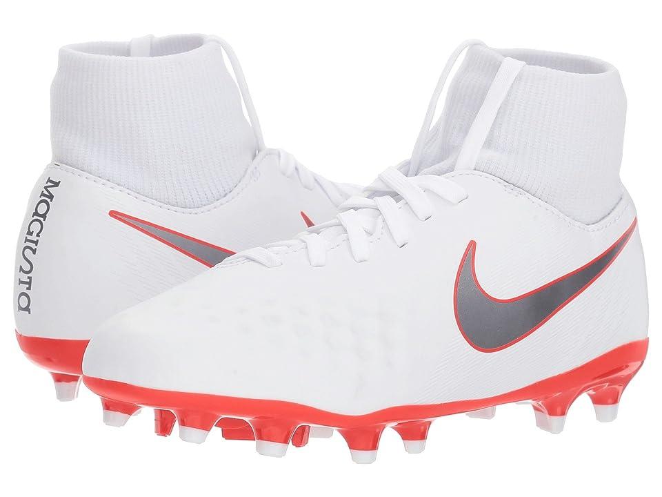 Nike Kids Jr. Magista Obra 2 Academy Dynamic Fit FG Soccer (Little Kid/Big Kid) (White/Metallic Cool Grey/Light Crimson) Kids Shoes