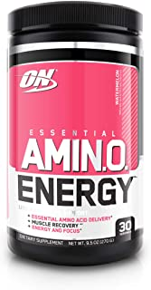 Optimum Nutrition Amino Energy - Pre Workout with Green Tea, BCAA, Amino Acids, Keto Friendly, Green Coffee Extract, Energy Powder - Watermelon, 30 Servings