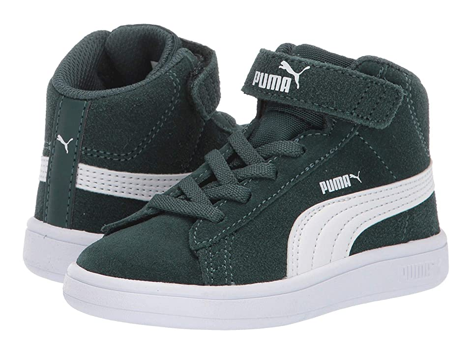 Puma Kids Smash V2 Mid Velcro (Toddler) (Ponderosa Pine/Puma White) Boys Shoes