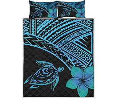 Hawaiian Turtle Plumeria Polynesian Patterned Quilt King Queen Twin Throw Size - All Season Quilt for, St Patricks Day