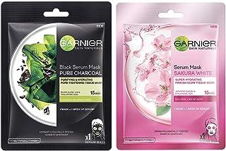 Garnier Skin Naturals, Charcoal, Face Serum Sheet Mask (Black), 28g & Garnier Skin Naturals, Sakura White, Face Serum Shee...