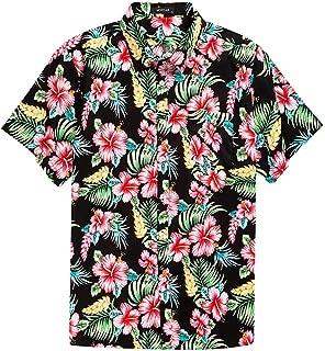 Men's Hawaiian Short Sleeve Shirt- MCEDAR Aloha Flower Print Casual Button Down Standard Fit Beach Shirts