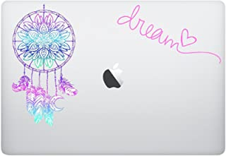 Laptop MAC - Dream catcher FULL + DREAM DECAL PINK - matte black skins stickers
