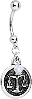 Handcrafted Steel Zodiac Sign Dangle Belly Ring Created with Swarovski Crystals