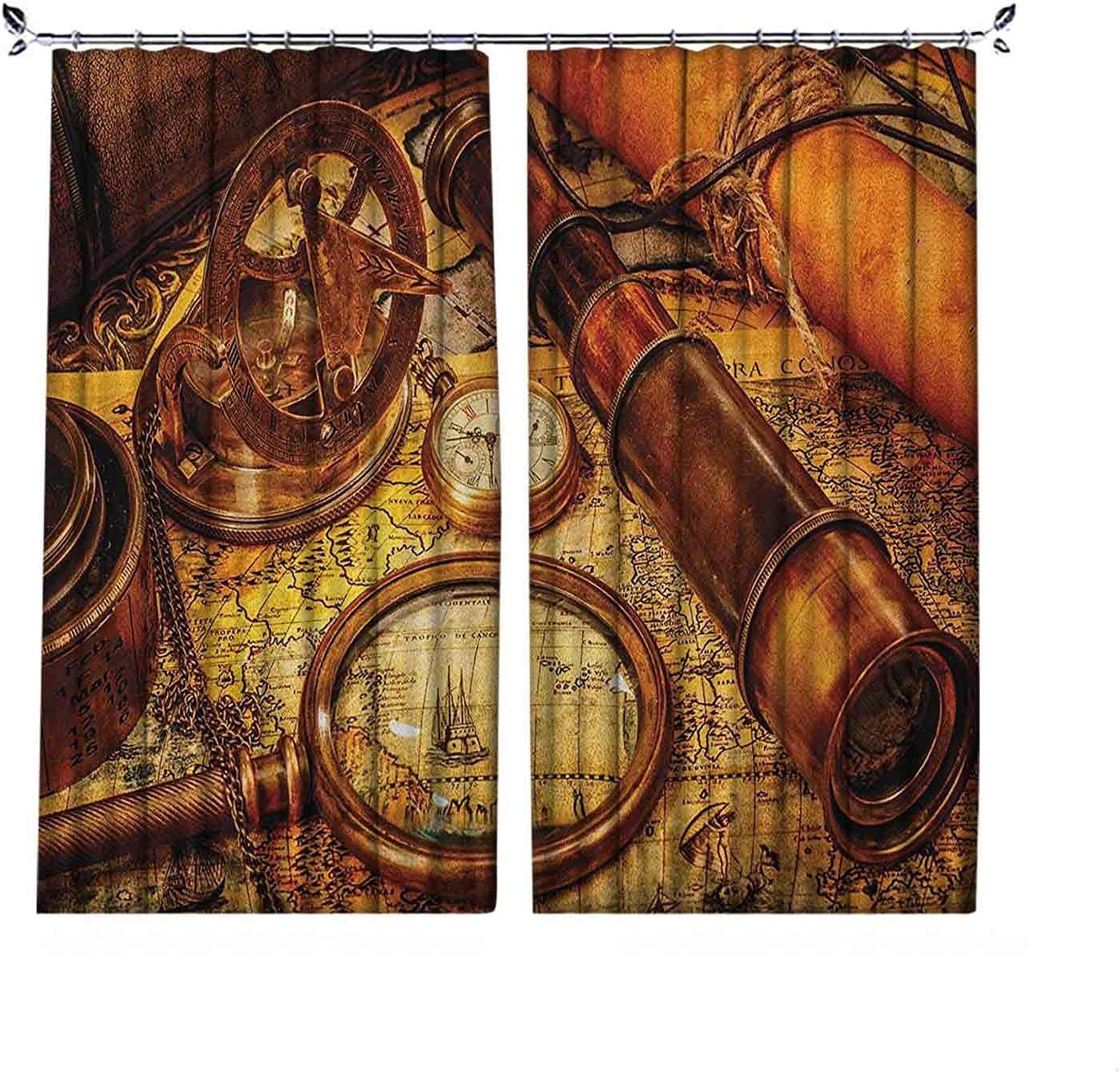 Cortinas plisadas con aislamiento térmico y antigüedades, lupa con telescopio y reloj de bolsillo en un mapa antiguo, para barras transversales y rieles, 84 x 84 pulgadas, naranja, marrón, amarillo
