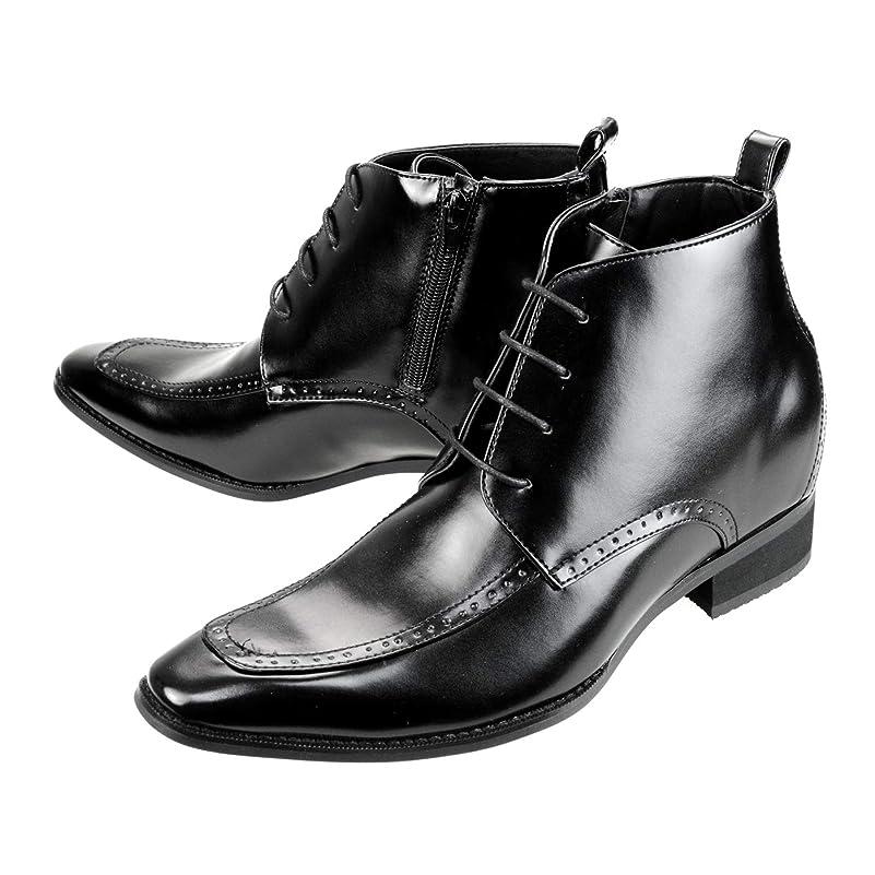 上院議員六ショップ[シュベック] SVEC シークレットブーツ レディース シークレットシューズ メンズ ショートブーツ ブラック 黒 コスプレ 男装 9cm ヒールアップ インヒール かわいい