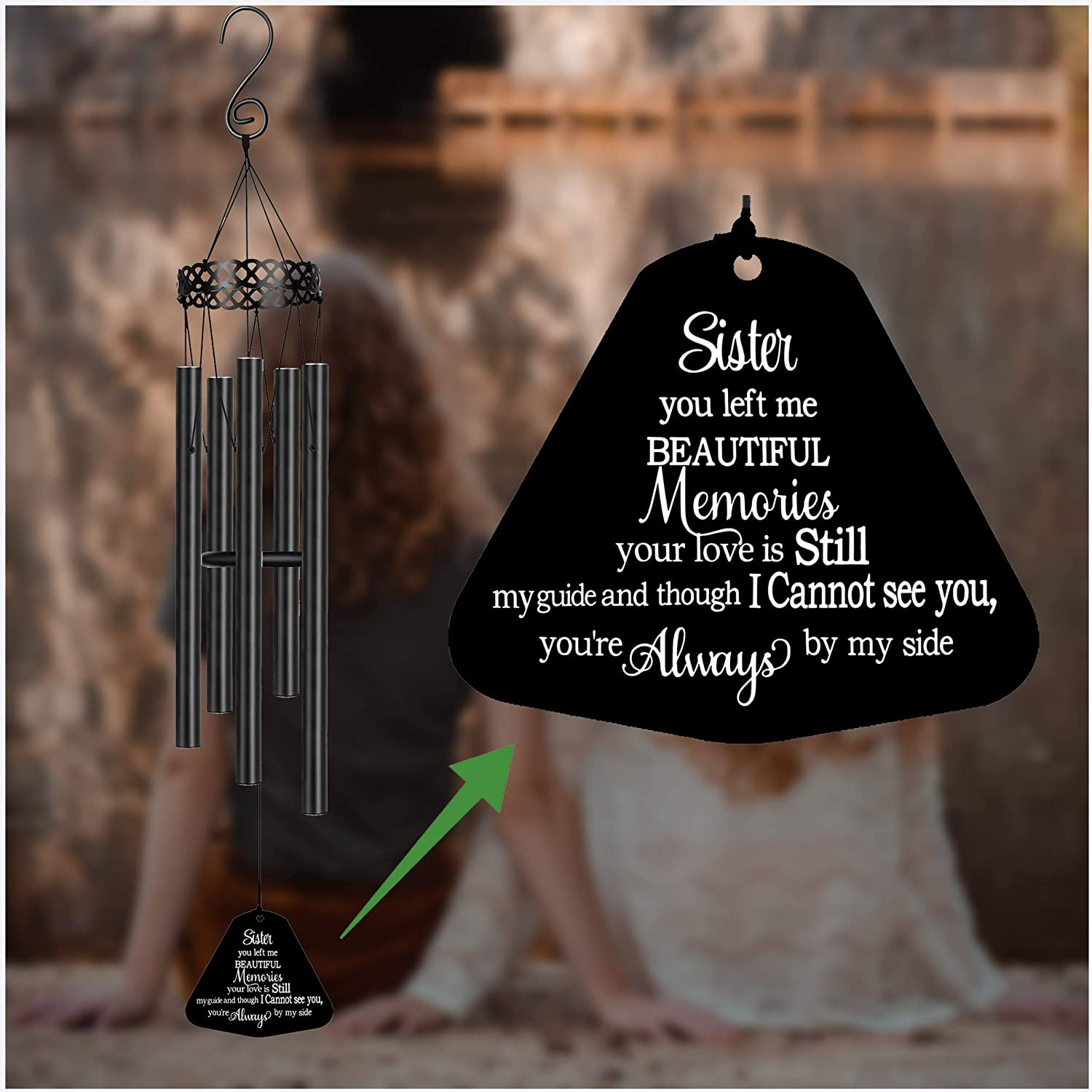 Memorial Wind Chimes for Loss of Sister Prime Sympathy Gifts Loss of Loved One Rememberance Large Angel Windchimes Outside Garden Sister You Left Me Beautiful Memories