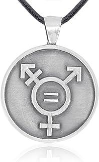 Namaste Jewelers Transgender Equality Sign Symbol Pendant Necklace Pewter Jewelry