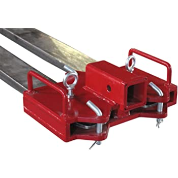 Lonwin 2 Pallet Fork Trailer Towing Adapter Clamp On Forklift Hitch Receiver with Safety Chain