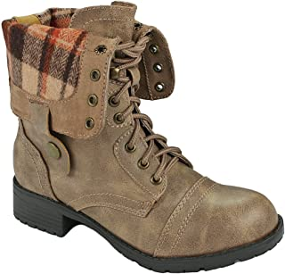 J.J.F Shoes Women Military Combat Foldable Cuff Faux Leather Plaid/Quilted Back Zipper Lace Up Boots