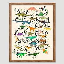 Dinosaur Alphabet Print A-Z Kids Wall Art Children Decor Kid's Room Artworks Dinosaur Wall Hanging Alphabet Poster Dinosaur ABC Print Playroom Decor