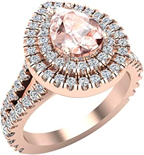 Pear Cut Pink Morganite Double Halo Engagement Ring 14K Gold (G, I1)