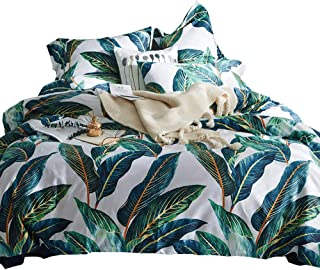 MKXI Home Duvet Cover Set Button Cloure Vintage Print Quilt Cover Set White King Green Tropical Leaves Pattern Reversible Cotton Luxury Bedding Collection