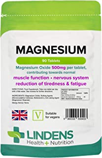 Lindens Magnesium Tablets - 90 Tablets - Contributes to Normal Energy Yielding Metabolism, Muscle Function, Nervous Syste...