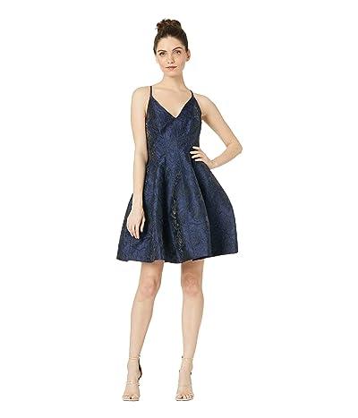 Halston Heritage Sleeveless V-Neck Floral Jacquard Tulip Dress (Navy 1) Women