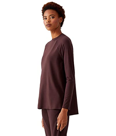 Eileen Fisher Crew Neck Raglan Sleeve Shirt (Cassis) Women