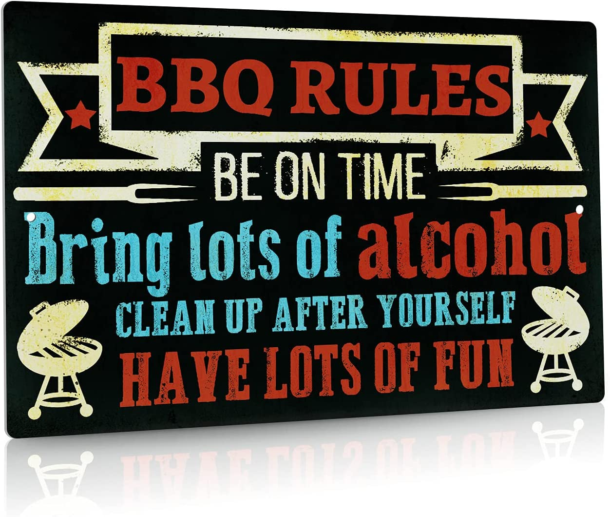 Putuo Decor BBQ Rules Decorations, Rustic Kitchen Wall Sign for Bar, Patio, Porch, Restaurant, 12x8 Inches Aluminum Metal Sign