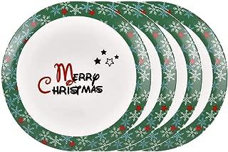 Christmas Dinner Plates Set, Christmas Tree Trimming plates with Merry Christmas Greetings, Porcelain Plate Set of 4 for Christmas Xmas