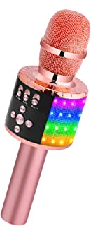 BONAOK Wireless Bluetooth Karaoke Microphone with Controllable LED Lights, Portable Handheld Karaoke Speaker Machine Christmas Birthday Home Party for Android/iPhone/PC or All Smartphone(Q78Rose Gold)