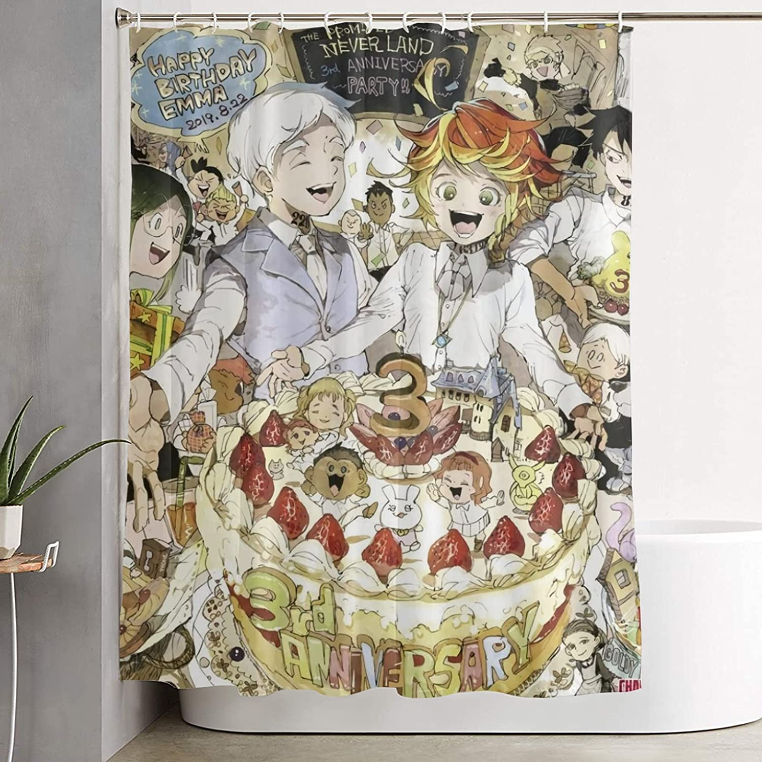 Anime The NEW before Max 49% OFF selling ☆ Promised Neverland Curta Shower Curtain Novelty