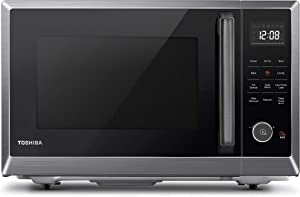 Toshiba ML2-EC10SA(BS) 4-in-1 Microwave Oven with Healthy Air Fry, Convection Cooking, Easy-clean Interior and ECO Mode, 1.0 Cu.ft, Black stainless steel (Renewed)