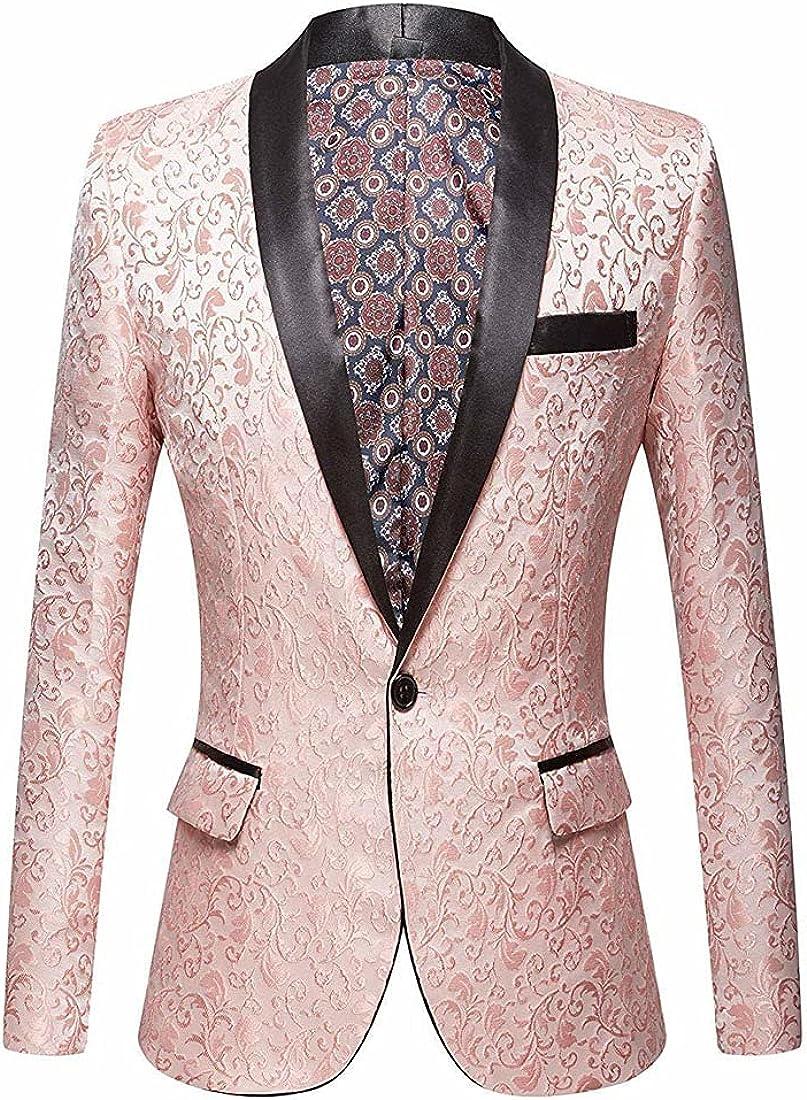 CARFFIV Men Pink Jacquard Suit Jacket Wedding Groom Prom Slim Fit Tuxedo Party Dinner Singers Blazers