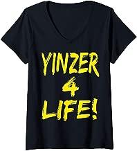 Womens Yinzer 4 Life Funny Pittsburgh Pennsylvania City Humor Cool  V-Neck T-Shirt