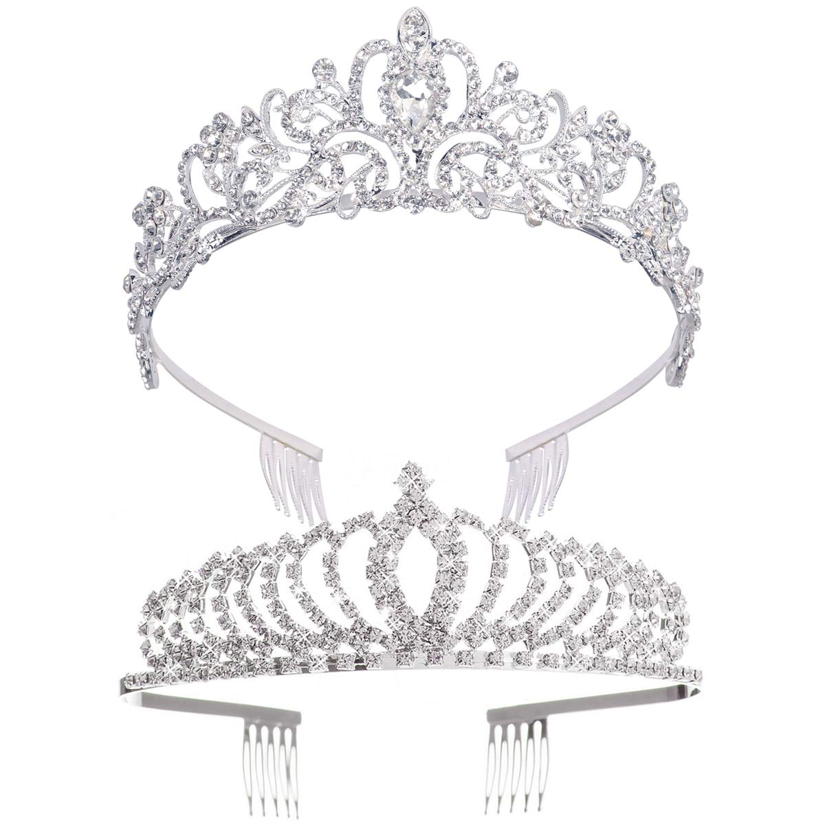 Didder Don't miss the campaign Silver Crystal Tiara Crown for Pack 2 Prin Limited price sale Headband Women