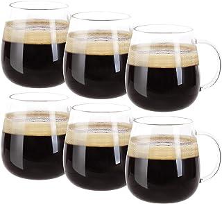 لیوان قهوه شیشه ای Farielyn-X 6 تایی ، لیوان شیشه بوروسیلیکات ایمن مایکروویو ، 15 لیوان بزرگ لیوان هدیه برای خانواده ، لاته ، شکلات