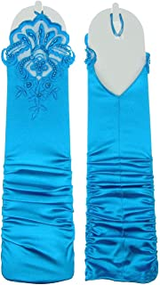 Gathered Below Elbow Satin Fingerless Gloves w/Floral Embroidery Lace & Sequins