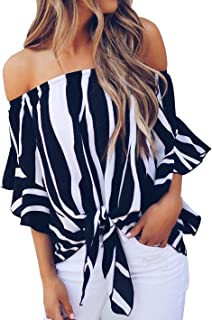 Womens Vertical Stripes Off Shoulder Tie Knot Casual Chiffon Blouse Tops