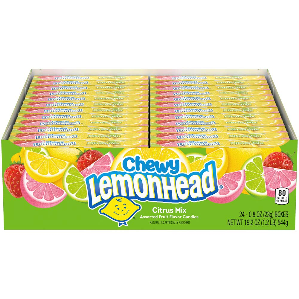 Lemonhead Chewy Candy Fiercely Citrus Flavor, 0.8 Ounce Box, Pack of 24