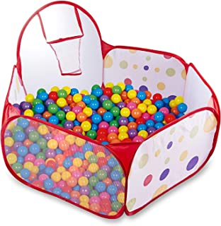 Kids Ball Pit Toddler Ball Pool Baby Play Tent Indoor & Outdoor Playpen Ball Pit Pool with Basketball Hoop Zippered Foldable Storage Bag (Balls Not Included)