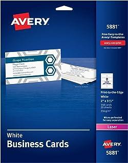 بطاقات عمل ميكروبيرف مطبوعة على الحافة من Avery 5881، لون الليزر، 2 × 3 1/2، أبيض (عبوة من 160)