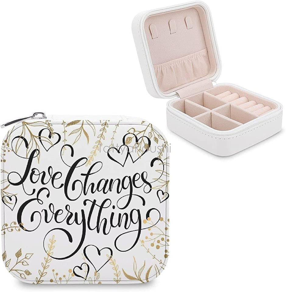 Small Travel Jewelry Box Organizer Display Storage Case for Rings Earrings Necklace, Mothers Day Gifts, Foliage Pattern Frame Style with Heart Shapes And An Inspirational Words
