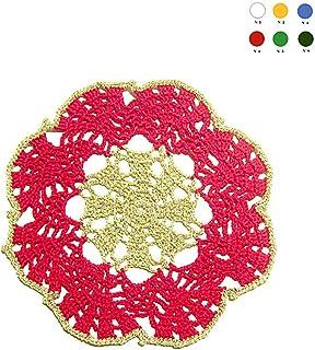 Posavasos redondo rojo y dorado de ganchillo para Navidad - Tamaño: ø 16 cm - Handmade - ITALY