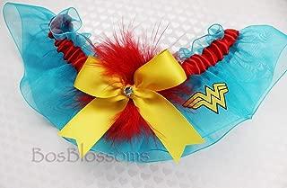 Customizable handmade - sexy Wonder Woman garter made with Wonder Woman fabric on turquoise organza keepsake bridal wedding prom