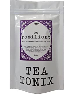 BE Resilient Stress Relief Tea with Ashwagandha, Holy Basil, and Eleuthero 60g - Helps The Body Recover from Stresses and Strengthens, Nourishes, and Stimulates The Adrenals
