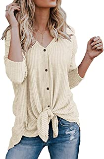 c1cb439cef9 Roselux Womens Henley Shirts Long Sleeve Waffle Knit Tunic Blouse Tie Knot  Button Down Loose Fitting