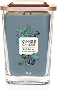 YANKEE CANDLE Elevation Coll. W/Plt Lid - large square candle with 2 large wick Dark Berries 1591073E