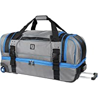 Streamline 30 Soft Rolling Retractable Pull Handle Split Level Storage Duffel Bag (Grey)