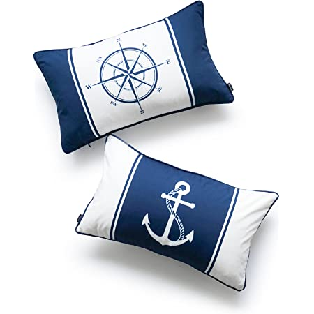 Hofdeco Nautical Indoor Outdoor Pillow Cover Only Water Resistant For Patio Lounge Sofa Navy Blue Compass Anchor 12 X20 Set Of 2 Home Kitchen