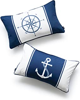Hofdeco Nautical Indoor Outdoor Cushion Cover ONLY, Water Resistant for Patio Lounge Sofa, Navy Blue Compass Anchor, 30cmx...