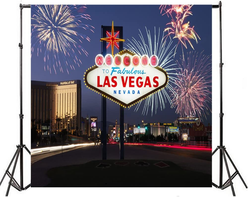 Yeele 10x10ft Las Vegas Backdrop Signpost Plate City Night Neon Fireworks Background for Photography Nightscape Lover Adult Boy Girl Travel Portrait Photo Booth Video Shoot Vinyl Studio Props