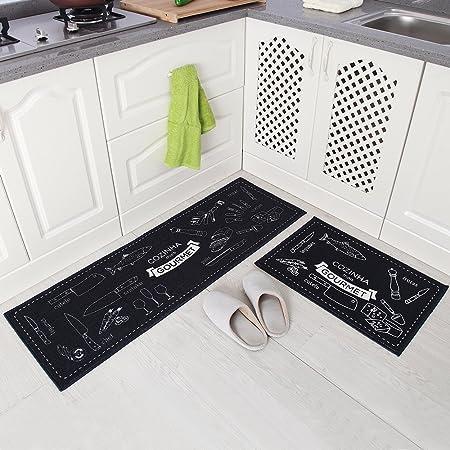 Carvapet Alfombras Cocina Lavable Antideslizante Alfombrilla de Goma Alfombra de Baño Alfombrillas Cocina (Cozinha Armada)