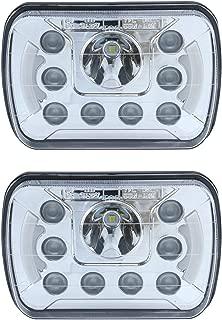 Pair of Universal 5x7 7x6 inch 45W LED Headlight with Daytime Driving Lights Sealed Beam Square/Rectangular Headlight Set